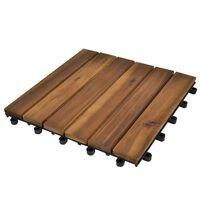 10 pcs Acacia Decking Tiles 30 x 30 cm Vertical Pattern
