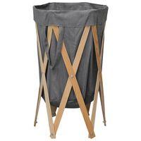 vidaXL Folding Laundry Basket Grey Wood and Fabric