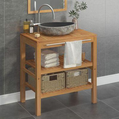 vidaXL Bathroom Vanity Cabinet Solid Teak with Riverstone Sink