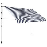 vidaXL Manual Retractable Awning 250 cm Blue and White Stripes
