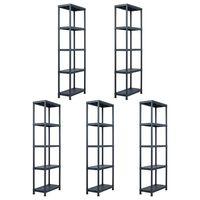 vidaXL Storage Shelf Racks 5 pcs Black 125 kg 60x30x180 cm Plastic