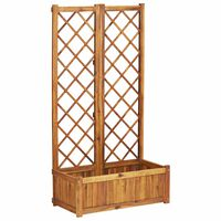 vidaXL Raised Bed with Trellis 80x38x150 cm Solid Acacia Wood