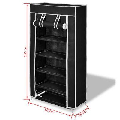 Fabric Shoe Cabinet with Cover 58 x 28 x 106 cm Black