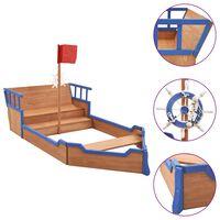 vidaXL Sandbox Pirate Ship Firwood 190x94.5x136 cm