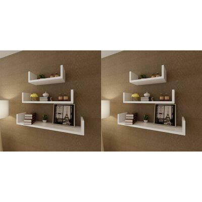 vidaXL Wall Shelves 6 pcs White