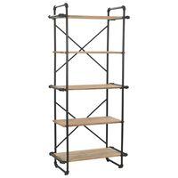 vidaXL Bookcase Solid Firwood and Steel 80x42x180 cm