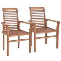 vidaXL Stacking Dining Chairs 2 pcs Solid Teak