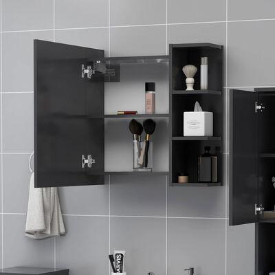 vidaXL Bathroom Mirror Cabinet Grey 62.5x20.5x64 cm Chipboard