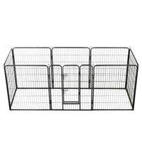 vidaXL Dog Playpen 8 Panels Steel 80x100 cm Black