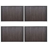 vidaXL Bamboo Bath Mats 4 pcs 60x90 cm Dark Brown