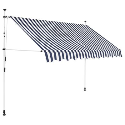 vidaXL Manual Retractable Awning 300 cm Blue and White Stripes