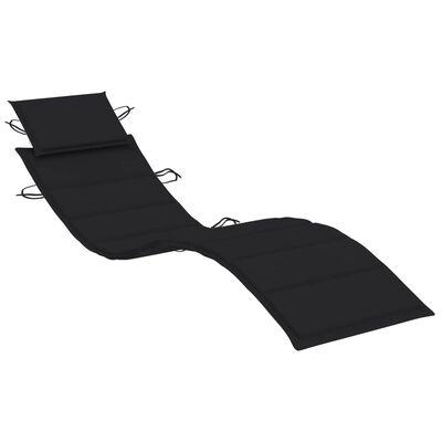vidaXL Sun Lounger Cushion Black 186x58x4 cm