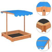vidaXL Sandbox with Adjustable Roof Fir Wood Blue UV50