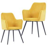 vidaXL Dining Chairs 2 pcs Yellow Velvet
