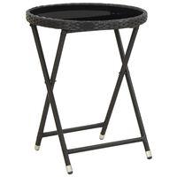 vidaXL Tea Table Black 60 cm Poly Rattan and Tempered Glass