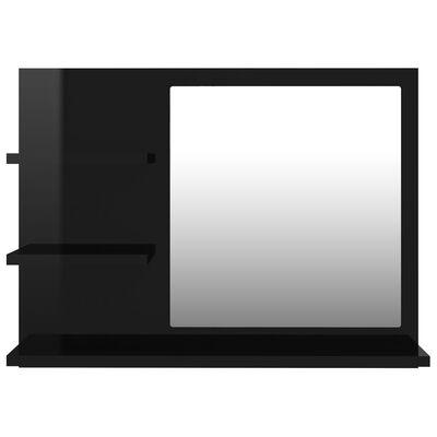 vidaXL Bathroom Mirror High Gloss Black 60x10.5x45 cm Chipboard