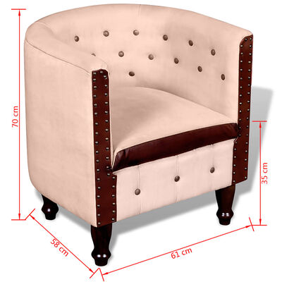 vidaXL Tub Chair Beige Real Leather and Canvas