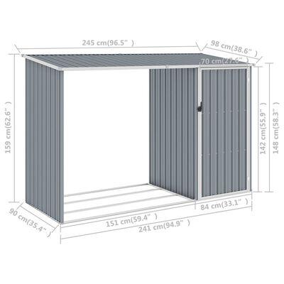 vidaXL Garden Firewood Shed Grey 245x98x159 cm Galvanised Steel