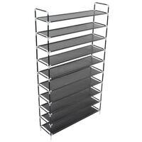 vidaXL Shoe Rack with 10 Shelves Metal and Non-woven Fabric Black