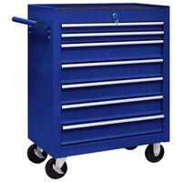 vidaXL Workshop Tool Trolley with 7 Drawers Blue