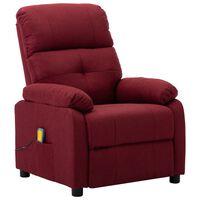 vidaXL Massage Recliner Chair Wine Red Fabric