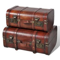 vidaXL Wooden Treasure Chests 2 pcs Vintage Brown