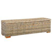vidaXL Storage Box 120 cm Kubu Rattan and Solid Mango Wood