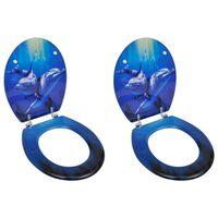 vidaXL Toilet Seats with Lids 2 pcs MDF Dolphin