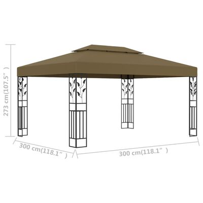 vidaXL Gazebo with Double Roof 3x4 m Taupe 180 g/m²
