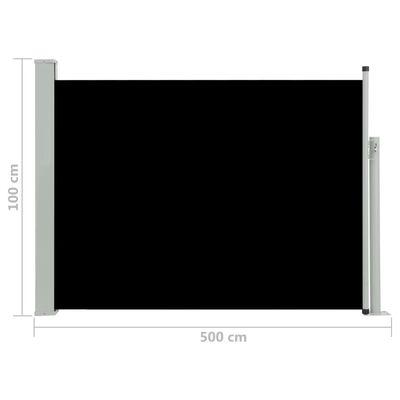 vidaXL Patio Retractable Side Awning 100x500 cm Black