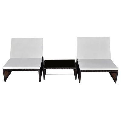 vidaXL Sun Loungers 2 pcs with Table Poly Rattan Brown