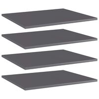 vidaXL Bookshelf Boards 4 pcs High Gloss Grey 60x50x1.5 cm Chipboard