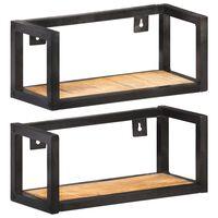 vidaXL Wall Shelves 2 pcs 40 cm Rough Mango Wood