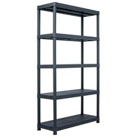 vidaXL Storage Shelf Rack Black 500 kg 100x40x180 cm Plastic