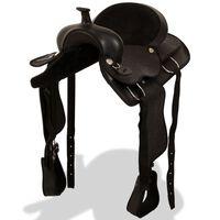 "vidaXL Western Saddle, Headstall&Breast Collar Real Leather 15"" Black"