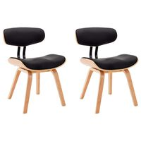 vidaXL Dining Chairs 2 pcs Black Bent Wood and Faux Leather