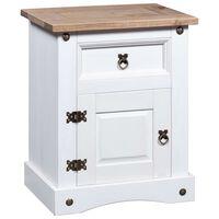vidaXL Bedside Cabinet Mexican Pine Corona Range White 53x39x67 cm