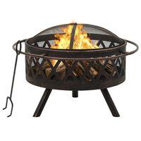 vidaXL Rustic Fire Pit with Poker 76 cm XXL Steel