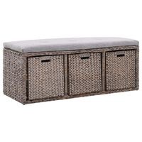 vidaXL Bench with 3 Baskets Seagrass 105x40x42 cm Grey