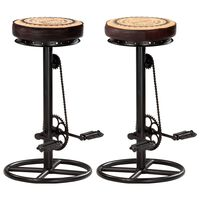 vidaXL Bar Stools with Canvas Print 2 pcs Black and Brown Real Leather