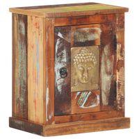 vidaXL Bedside Cabinet with Buddha Cladding 40x30x50 cm Reclaimed Wood