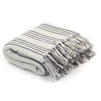 vidaXL Throw Cotton Stripes 220x250 cm Grey and White