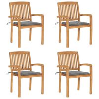 vidaXL Stacking Garden Chairs with Cushions 4 pcs Solid Teak Wood