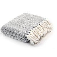 vidaXL Throw Cotton Herringbone 220x250 cm Grey