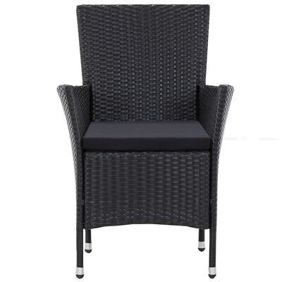vidaXL Garden Chairs 2 pcs Black Poly Rattan