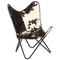 vidaXL Butterfly Chair Black and White Genuine Goat Leather