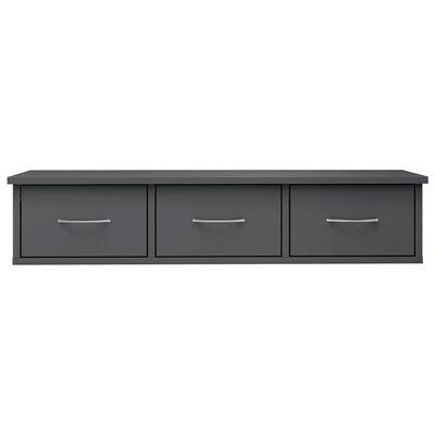 vidaXL Wall-mounted Drawer Shelf High Gloss Grey 88x26x18.5 cm Chipboard, Highglossgrey