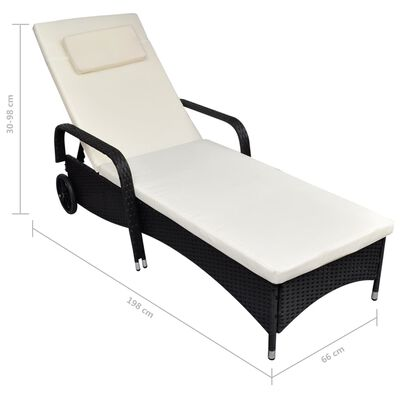 vidaXL Sun Lounger with Cushion & Wheels Poly Rattan Black