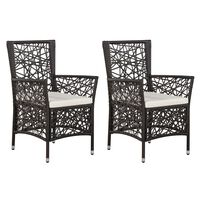vidaXL Outdoor Chairs 2 pcs with Cushions Poly Rattan Brown