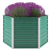 vidaXL Garden Raised Bed Galvanised Steel 129x129x77 cm Green